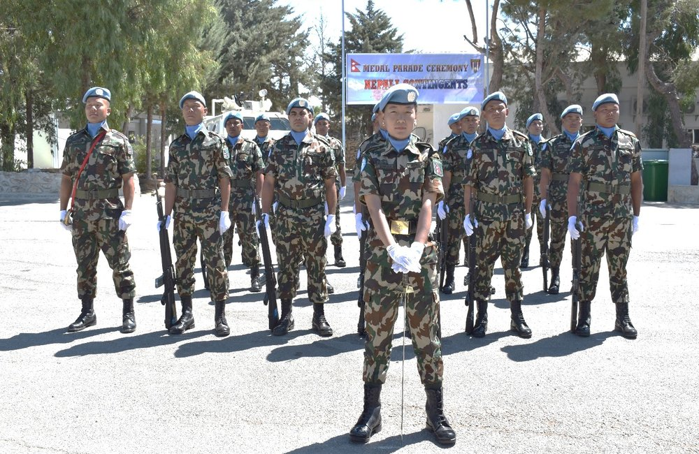 Troops from NMC Prepare for the recieving of the UNDOF Medal during the NMC Medal Parade