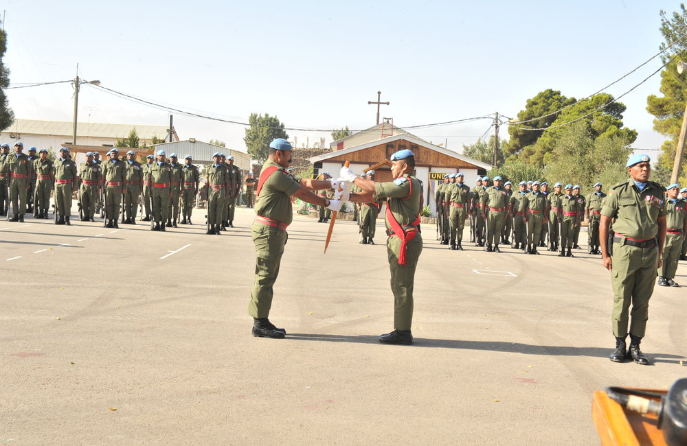 Fiji Batt parade at the Handover/Takeover at Camp Ziouani