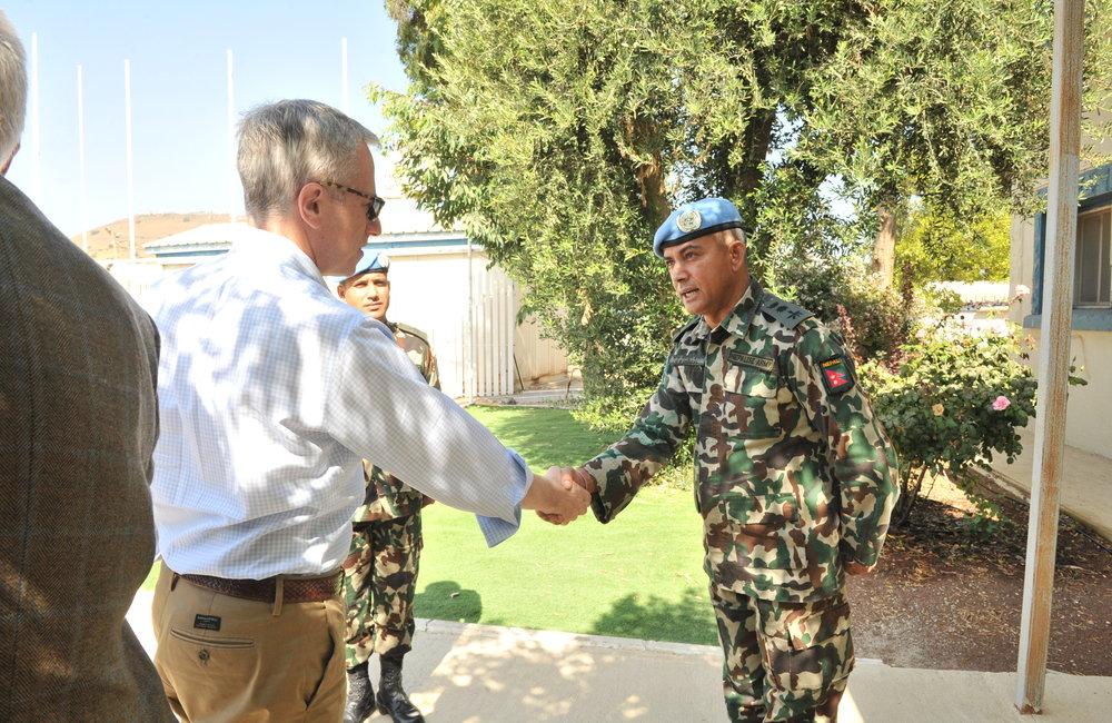 UNDOF Chief of Staff Col Chok Bahadur Dhakal welcomes the Delegation