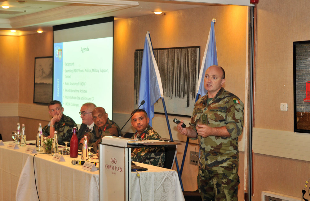 Lt Col Tadhg Murray Chief Operations Officer briefing the delegates