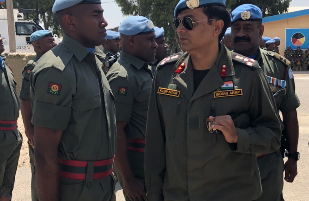 DFC and A/FC Brig Gen Kuldip Pathak inspects Fiji Batt 6