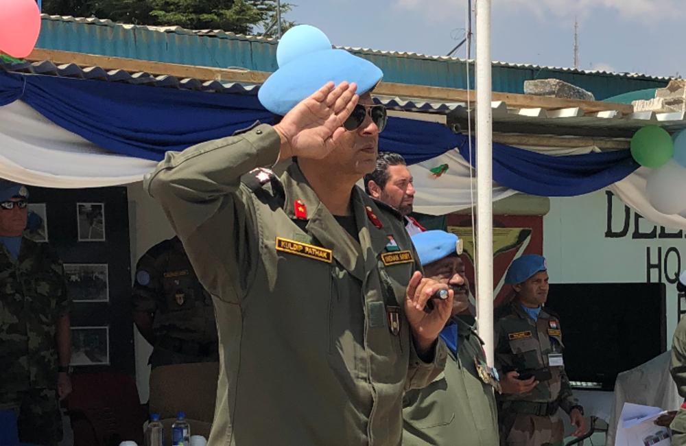 DFC and A/FC Brig Gen Kuldip Pathak takes the salute during the review of Fiji Batt 6