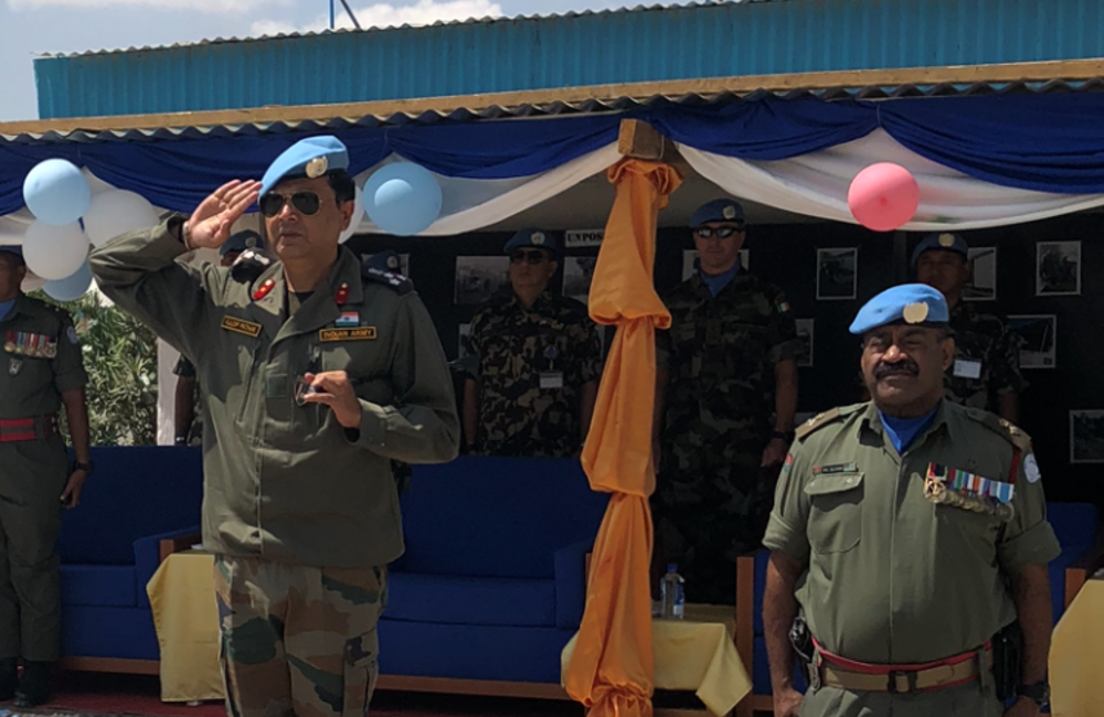 DFC and A/FC Brig Gen Kuldip Pathak salutes the reviewing Fiji Batt Parade