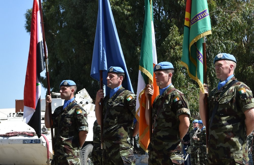 Flag Party 59th Inf Gp Irish Contingent UNDOF on parade during the Medal Parade.