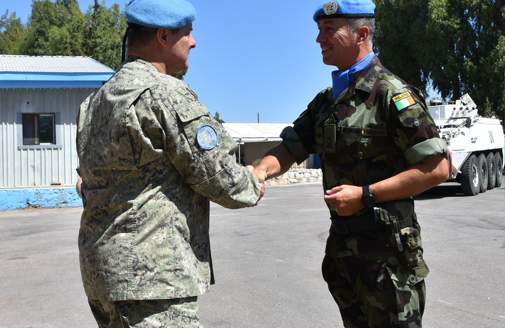 Officer Commading 59th Inf Gp Lt Col Louis Flynn recieves his UNDOF Medal for Chief of Staff UNDOF Col Luis E Coitino.