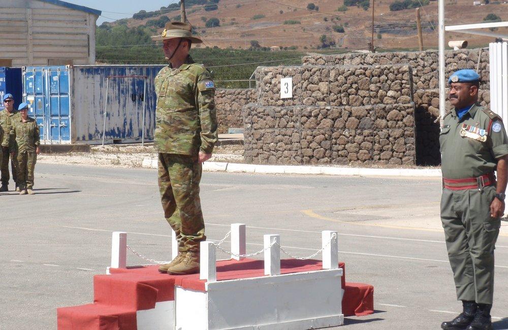 Lt Gen Bilton CJOPS ADF reviews the GOH with Lt Col Sloan O/C Fiji Batt