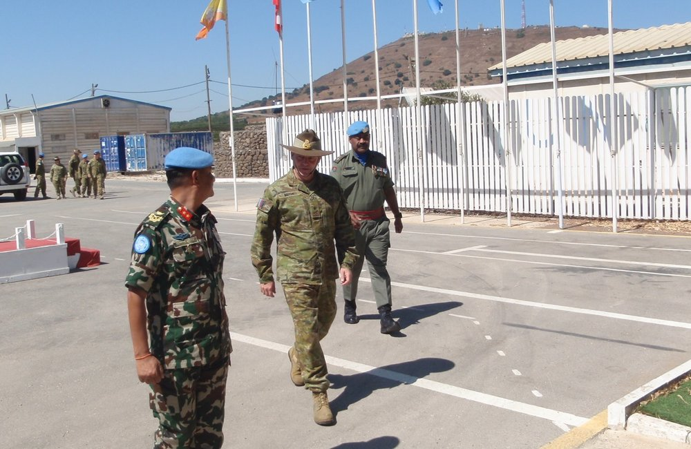 HoM and FC accompanies Lt Gen Bilton CJOPS ADF to the brifing room in Camp Ziouani