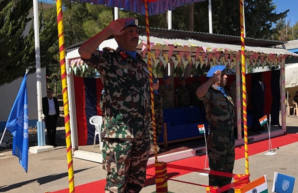 HoM and FC Maj Gen Shivaram Kharel  reviews the IND LOG Troops