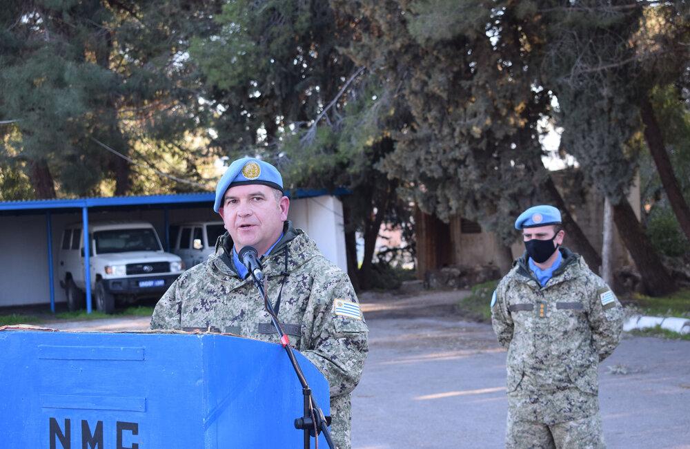 Col Martin Alvarez addresses the parade