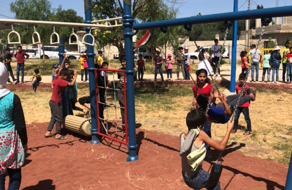 Children from Khan Arnabeh enjoying the new Playground facilities which was a colaboration between NMC, UNDOF Civil Affairs Office and UNDOF HQ