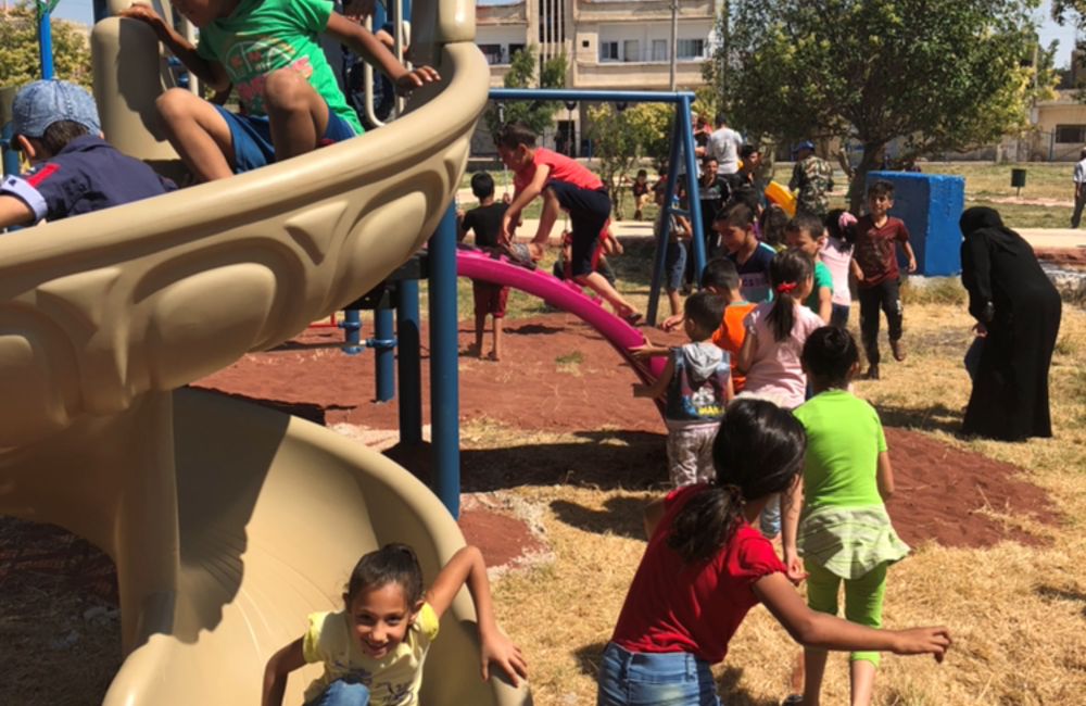 Children from Khan Arnabeh enjoying the new Playground facilities.