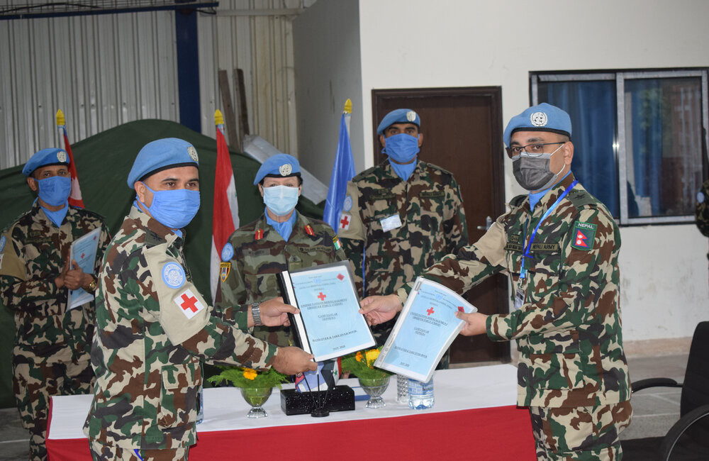 Nepalese Level 1+ Hospital Commanders complete their transfer of authority