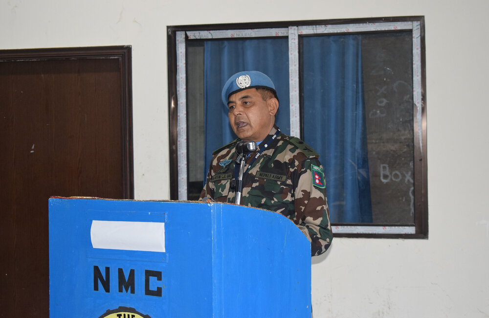 NMC Commander Lt Col Jayson Shamsher Jbr addresses Mission Leadership and Nepalese troops as he bids farewell to UNDOF