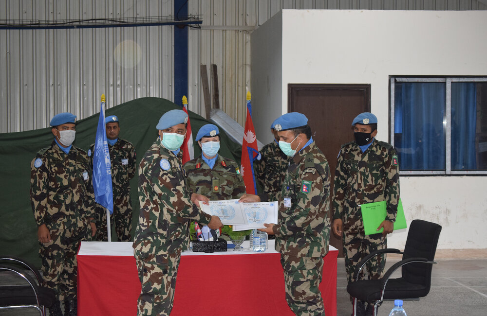Nepalese Engineer Platoon Commanders complete their transfer of authority