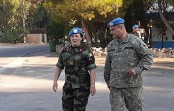 Brig Gen Maureen O Brien DFC UNDOF is greeted on her arrival to UNDOF HQ by Chief of Staff Col Luis E Coitino.