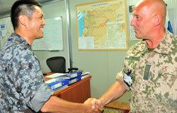 Japanese Defense Attache Col Yasuhiro Ogawa makes an office call to UNDOF Deputy Force Commander Brig Gen Mauri Tapani Koskela