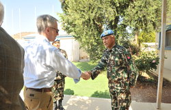 UNDOF Chief of Staff Col Chok Bahadur Dhakal welcomes the Delegation
