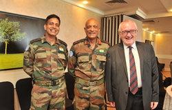 FC/ HoM Maj Gen Jai Shanker Menon with Chief of Mission Support Mr. Bernie Lee and Lt Col Sandeep Kumar