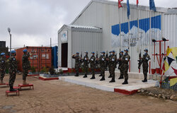 FC Lt Gen Ishwar Hamal is greeted to UNP12 by NEPCON Guard of Honour