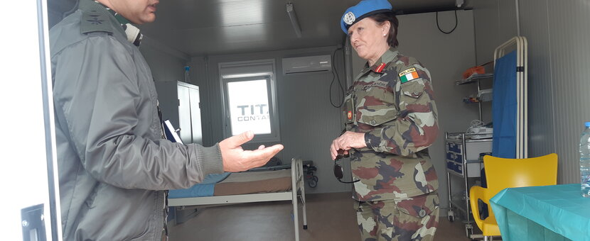 A/FC Brig. Gen. Maureen O'Brien visit to COVID-19 isolation facility in UNDOF
