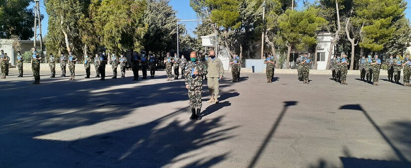UNDOF observing a minute's silence in Camp Faouar