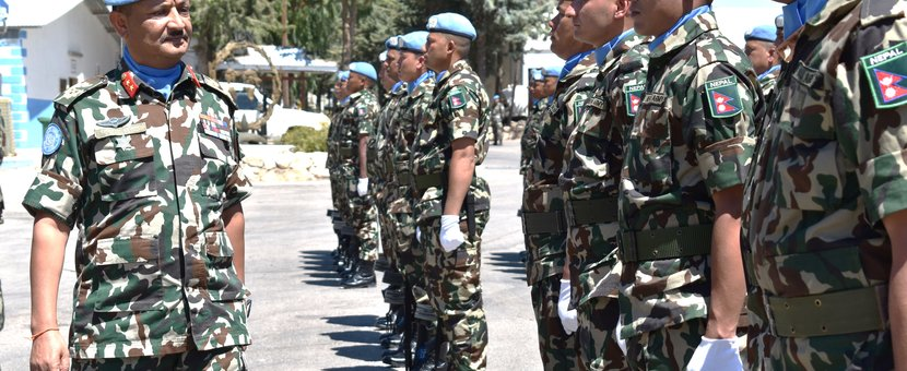 Hom and FC Maj Gen Shivaram KHAREL Inspects the Guard of Honour from the Nepales Contingent during the NMC Medal Parade
