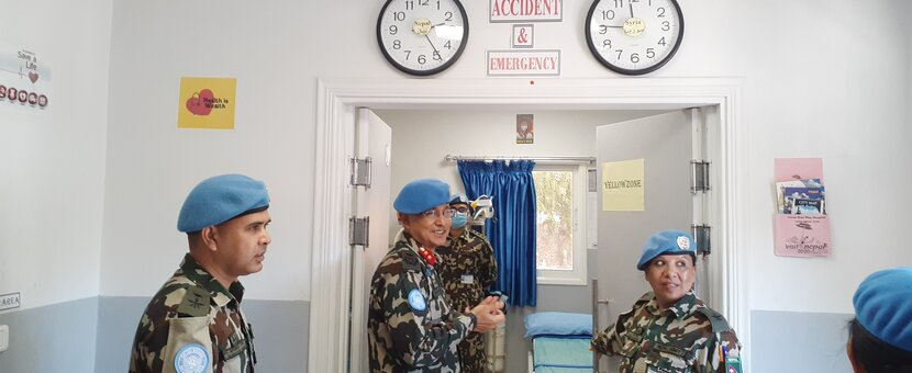 HoM/FC Major General Ishwar Hamal visiting the Accident and Emergency, Level One PLus Hospital, UNDOF.