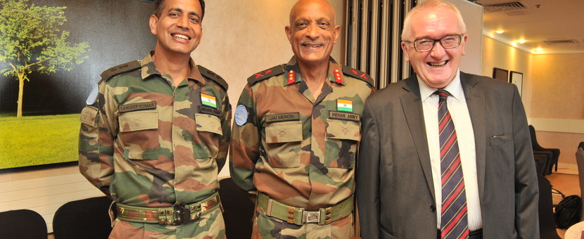 FC/ HoM Maj Gen Jai Shanker Menon with Chief of Mission Support Mr. Bernie Lee and Lt Col Sandeep Kumar