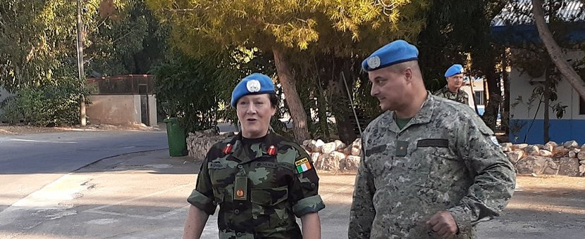 Chief of Staff UNDOF Col Luis E Coitino greets Brig Gen Maureen O Brien DFC UNDOF on her arrival in Camp Faouar