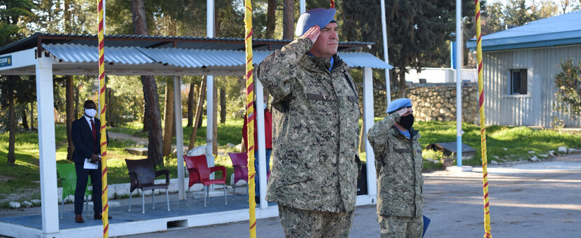 COS Col Martin Alvarez receiving the salute from the UNDOF Staff Officers and Contingent Commanders